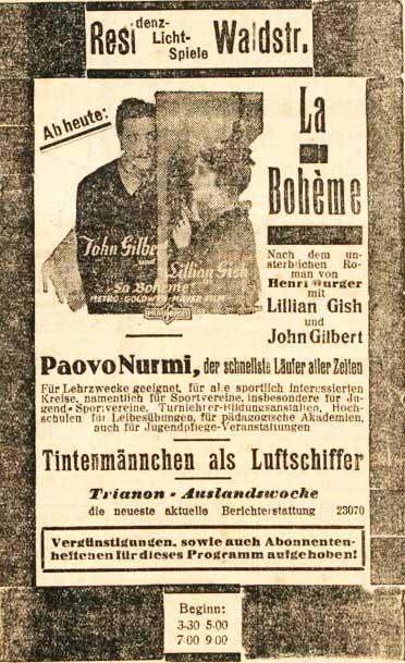 """Zeitungsanzeige 1926 für """"La Boheme"""" von D. W. Griffith"""